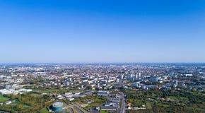 Foto aérea de la metrópoli de Nantes imagen de archivo