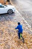 A foto aérea de um menino monta uma bicicleta no parque do outono imagens de stock