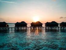 Foto aérea del abejón - mujer que disfruta de una salida del sol en los Maldivas fotos de archivo