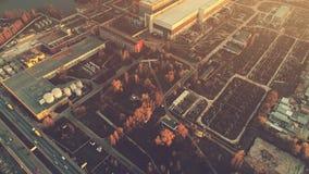 Foto aérea del vuelo del abejón sobre la zona industrial de Kiev Fotos de archivo