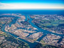 Foto aérea do porto de Rotterdam, os Países Baixos Fotografia de Stock