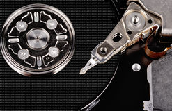Foto abierta de la opinión superior del primer del disco duro del ordenador Foto de archivo