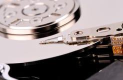 Foto abierta de la opinión superior del primer del disco duro del ordenador Imagen de archivo
