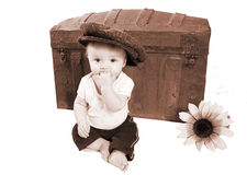 Foto adorável do bebê do vintage foto de stock