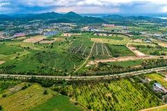 Foto aerea che coltiva agricoltura e sviluppo del territorio Fotografia Stock