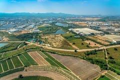 Foto aerea che coltiva agricoltura e sviluppo del territorio Immagini Stock