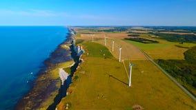 Foto aerea dei generatori eolici vicino a Fecamp Fotografie Stock Libere da Diritti