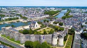 Foto aerea del castello della città Angers Immagine Stock Libera da Diritti