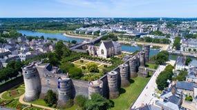 Foto aerea del castello della città Angers Fotografie Stock Libere da Diritti