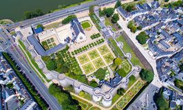Foto aerea del castello della città Angers Fotografia Stock