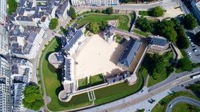Foto aerea del castello della città di Nantes Fotografie Stock