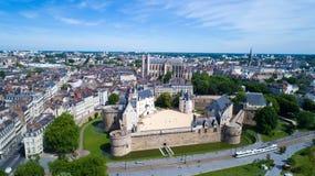 Foto aerea del castello della città di Nantes Fotografia Stock