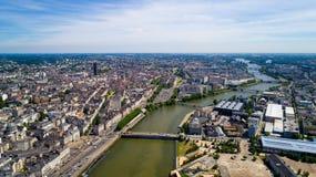 Foto aerea del centro urbano di Nantes Fotografia Stock Libera da Diritti
