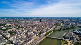 Foto aerea del centro urbano di Nantes Fotografie Stock Libere da Diritti