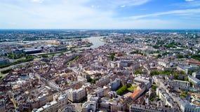 Foto aerea del centro urbano di Nantes Immagini Stock