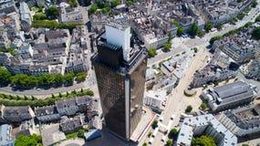 Foto aerea del giro de la Bretagna nel centro urbano di Nantes Fotografia Stock Libera da Diritti