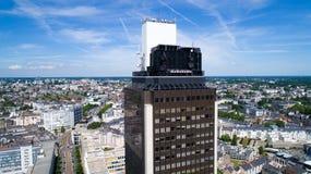 Foto aerea del giro de la Bretagna nel centro urbano di Nantes Immagine Stock