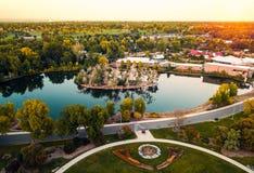 Foto aerea del parco Duck Lake della città di Denver fotografia stock libera da diritti