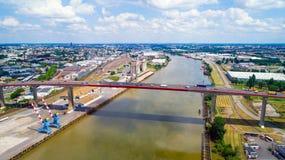 Foto aerea del ponte di Chevire nella città di Nantes Fotografia Stock