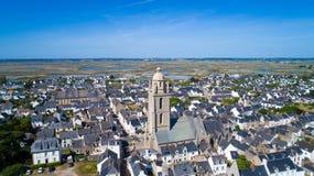 Foto aerea del villaggio di Mer del sur di Batz Fotografia Stock