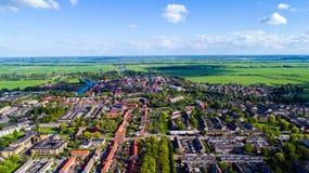 Foto aerea del villaggio di Oudewater Fotografia Stock Libera da Diritti