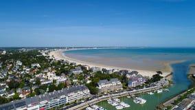 Foto aerea della baia di La Baule Escoublac da Le Pouliguen Fotografie Stock Libere da Diritti