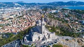 Foto aerea della basilica di Notre Dame de la Garde Fotografie Stock