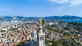 Foto aerea della basilica di Notre Dame de la Garde Fotografia Stock