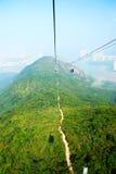 Foto aerea della cabina di funivia Fotografia Stock