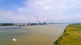 Foto aerea della centrale elettrica elettrica di Cordemais Immagini Stock