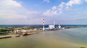 Foto aerea della centrale elettrica elettrica di Cordemais Fotografia Stock Libera da Diritti