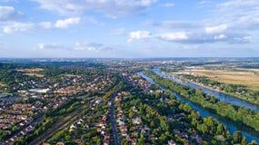 Foto aerea della città di Andresy Immagini Stock