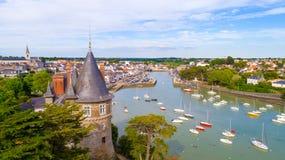 Foto aerea della città di Pornic, la Loira Atlantique Fotografia Stock Libera da Diritti