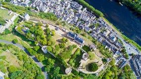 Foto aerea della fortezza reale di Chinon Immagine Stock