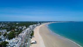 Foto aerea della spiaggia di La Baule Escoublac Fotografia Stock