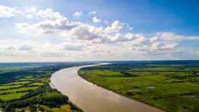 Foto aerea di La il fiume Loira vicino a Le Pellerin Fotografia Stock