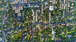 Foto aerea di un distretto residenziale in Andresy Fotografia Stock Libera da Diritti