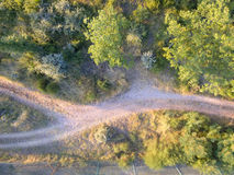 Foto aerea di una strada nella foresta fotografie stock libere da diritti