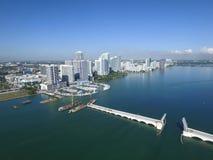 Foto aerea Edgewater Miami Fotografia Stock Libera da Diritti