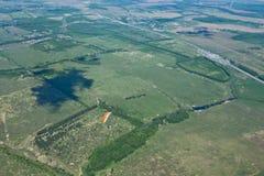 Foto aerea, foresta, prato Immagini Stock Libere da Diritti