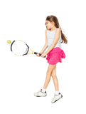 Foto aislada de la muchacha linda que miente en piso y que juega a tenis Imágenes de archivo libres de regalías