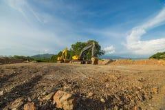 Foto amarilla de la retroexcavadora Imagen de archivo libre de regalías