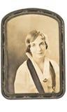 Foto antigua de la mujer enmarcada Fotos de archivo