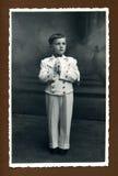 Foto antigua de la original 1942 - primera comunión Foto de archivo