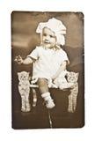 Foto antigua del bebé Fotografía de archivo