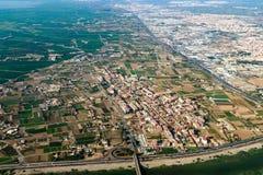 Foto aérea de Valencia City Surrounding Areas In España Fotografía de archivo