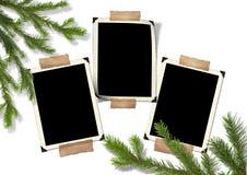 Foto-armazón retro y árbol de navidad Foto de archivo libre de regalías