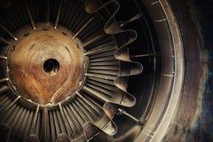 Foto ascendente cercana del motor a reacción Fotos de archivo libres de regalías