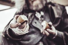 Foto ascendente próxima do homem desabrigado que guarda duas partes de cozimento com ambas as mãos fotografia de stock