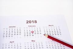 Foto astratta di giorno di S. Valentino Calendario con la matita Immagine Stock Libera da Diritti